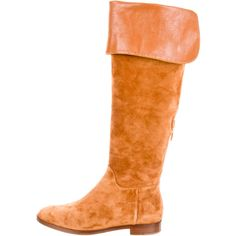 Sergio Rossi Over-The-Knee Boots ($245) ❤ liked on Polyvore featuring shoes, boots, brown, brown suede over the knee boots, above the knee boots, round toe boots, suede thigh-high boots and suede thigh high boots