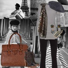 French Style, boina francesa, echarpe animal print e bolsa marrom.