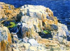 """""""Rocks at Appledore,"""" Frederick Childe Hassam, 1916, watercolor   on paper, 10.75 x 15"""", Private collection."""