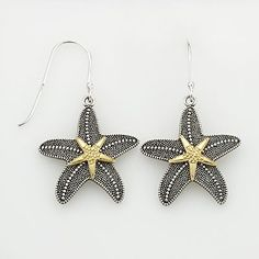 14k Gold Over Silver and Sterling Silver Textured Starfish Drop Earrings