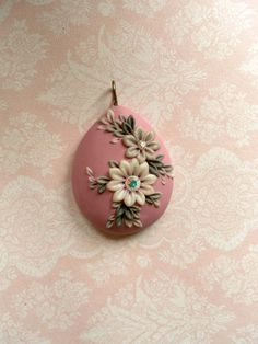 Frozen flowers - polymer clay pendant
