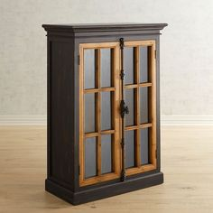 Cremone Rubbed Black Low Cabinet Wood Pantry Bar Furniture Living Room