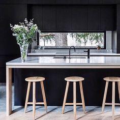 Black kitchen goals 🖤🖤 by @georgia_ezra captured by @ameliastanwix // . . . #melbourne #melbourneinterior #design #designer #designlover…