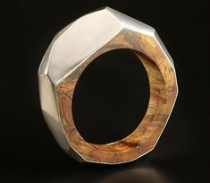 Contemporary Jewellery Diane Turner - geometric ring. Wood and metal