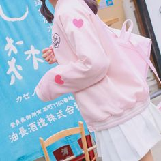 Cute Fashion Clothes Baseball Jacket on Girly Girl の To Alice.Japanese Cute Heart Embroid Baseball Jacket Sweet Coat Gg636 is a must to make an amazing outfit. You can wear it in any occasion - school, office, dates, and parties.