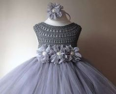 INSPIRATION: I wonder if I could make something like this.Silver Gray Grey Flowergirl dress tutu dress by MimozaLuxury Crochet Baby Clothes, Crochet Girls, Crochet For Kids, Knit Crochet, Crochet Tops, Hand Crochet, Crochet Tutu Dress, Tulle Dress, Silk Dress