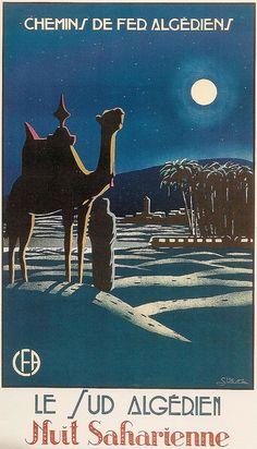 Le Sud Algérien Nuit Saharienne vintage travel poster, by S. Besse, 1925