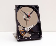 hard drive desk clock, upcycled desk clock, geek gift, industrial style clock, steampunk clock, unique, Recycled Computer Hard Drive Clock by pixelthis on Etsy