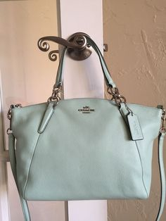 Coach F36675 Pebble Leather Small Kelsey Satchel Seaglass Green Convertible Body   eBay