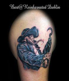 Captain Hook (in progress) Captain Hook, Tattos, Watercolor Tattoo, Skull, Watercolor Tattoos, Temp Tattoo, Skulls