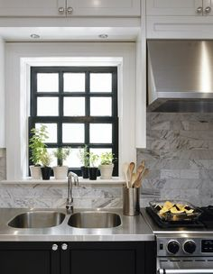 marble + stainless steel + black window