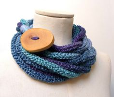 Knit Loop Scarf Necklace, Infinity Scarlette Neckwarmer - Blue, Sapphire, Teal ombre yarn with big wood button - Handmade by ixela designed in Italy