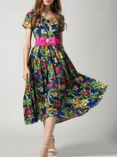 Women's Chiffon Floral Dress - Midi / Fuchsia Belt / Empire Waistline