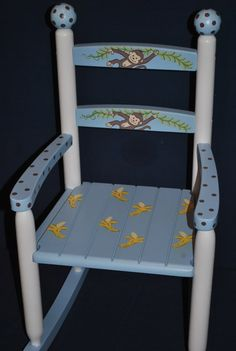 Kids Custom Hand Painted Rocking Chair Boys Monkey by onmyown14, $139.00