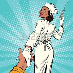 Follow me nurse with medical syringe for injection, pop art retro comic book vector illustration Vector