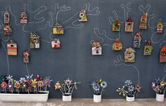 Papier m& bird houses.love the flowers too. Great way to display work! Great website for ideas! Recycled Art Projects, Clay Projects, Projects For Kids, Project Ideas, Art Lessons Elementary, Collaborative Art, Art Lesson Plans, Art Classroom, Art Club