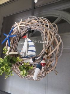 Items similar to Made to Order Nautical Grapevine Wreath / Front Door Wreath / Beach . Items similar to Made to Order Nautical Grapevine Wreath / Front Door Wreath / Beach Wreath / Sailboat / Summ Summer Door Wreaths, Wreaths For Front Door, Christmas Wreaths, Beach Wreaths, Etsy Christmas, Diy Wreath, Grapevine Wreath, Beach Centerpieces, Deco Marine