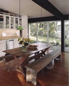 This is the exact white/ wood, modern/rustic combo I'm aiming for!    Peninsula House: Kitchen and Living Space, Murphy Burnham & Buttrick Architects | Remodelista Architect / Designer Directory