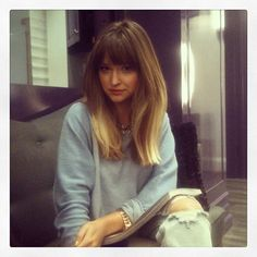 Ombre-Hair-with-Blunt-Bangs. Long Blunt Haircut, Blunt Bangs, Mid Length Ombre, Mid Length Hair With Bangs, Long Blunt Cut, Lob With Bangs, Long Lob, Pretty Hairstyles, Hairstyles With Bangs