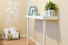 Super easy transformation of IKEA LACK table into a narrow console table. Table Console Blanche, Narrow Console Table, Ikea Lack Shelves, Table Shelves, Lack Shelf, Wooden Crate Furniture, Diy Furniture, Wooden Crates, Ikea Hacks