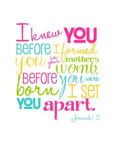 I Knew You Before I Formed You - Jeremiah 1.5 - 8x10 print - Multi-Color Girl