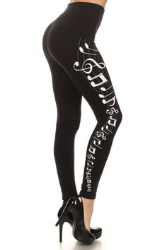 Musical Notes Graphic Print Lined Leggings