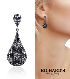 Black and white diamond earrings in 14k white gold