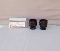 Avon 1876 Cape Cod Ruby Red Footed Glass Set Contains 2 Glasses In Original Box ,Vintage,1988,Small by Incredibletreasures on Etsy