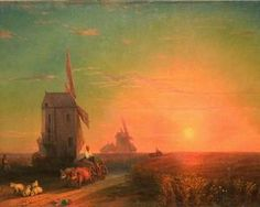 Sunset. Mill - Ivan Aivazovsky