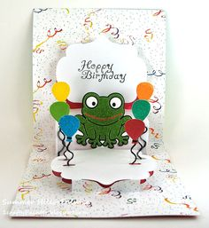 Summer Hills-Painter using the Pop it Ups Lorna Label pop-up die, Hoppy the Frog, slot dies from the Lucy Label and balloon dies from the Spiral Circle Pull Card by Karen Burniston for Elizabeth Craft Designs.