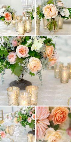 Customer Inspiration | Peach garden roses, dahlias, and orchids | Dolce Votives | Bespoke Vase