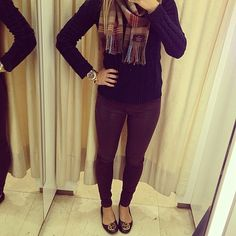 maroon pants and navy cable knit sweater
