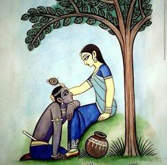 """""""I was really saying for the sake of our youth and our love I forgave him for everything and I was asking him to forgive me too."""" -Miriam Waddington, Ten Years and Krishna Drawing, Krishna Painting, Madhubani Art, Madhubani Painting, Arte Krishna, Krishna Radha, Lord Krishna, Radha Rani, Indian Art Gallery"""