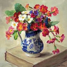 Primulas in Willow Pattern | Mill House Fine Art – Publishers of Anne Cotterill Flower Art