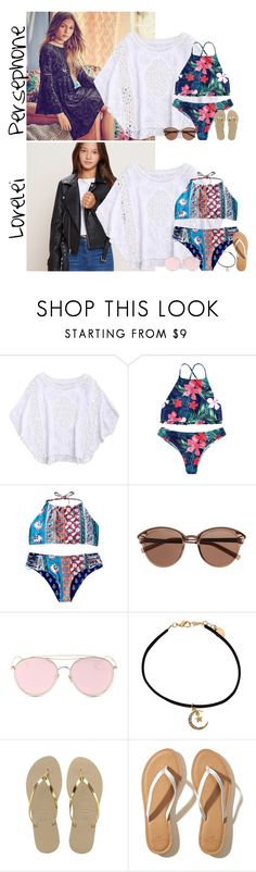 """""""Tuesday // Rooftop Pool Party for the 4th // 7.4.17"""" by graywolf422 ❤ liked on Polyvore featuring Murphy, Witchery, LMNT, claire's, Havaianas, Hollister Co. and LanderFam"""