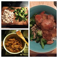 Kat's Pineapple Chilli Chicken served with basmati rice and broccoli & mushroom side dish.