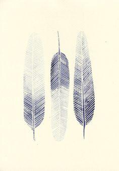 Violet Blue Ombre Modern Boho Feather Watercolour Painting - Original Modern Art - Home Decor