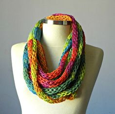 Tube scarf Finger Knitted infinity scarf colorfull por yarnisland, $19.00