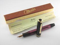 """Vintage """"Merlin 33"""" Fountain Pen in Box-Pearl Pink Marbled-14K Nib-Germany 1950s #Merlin"""