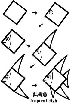 Hayvan Resimleri Nasl izilir Fish Triangles and Cartoon