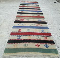 34, 6x123, 6 inches  VINTAGE Handwoven Striped Turkish Antique Wool Kilim Rug Carpet Runner ,Colorful  Floor Kilim Rugs Runner,Natural Dyed....