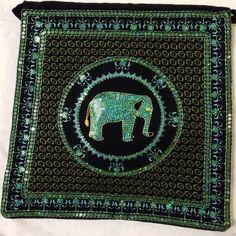 Black & teal elephant handbag