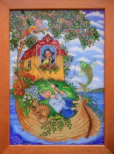Tatiana Homolayová - Zlatá rybka / reverse painted glass/ podmaľba na sklo Naive Art, Art Techniques, Folk Art, Romantic, Paintings, Windows, Drawings, Glass, Artwork