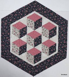 Quilted Table Topper Floating Blocks Navy Pink Grey