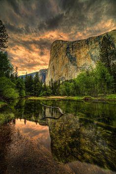 Sunset, Merced River and El Capitan, Yosemite National Park, California