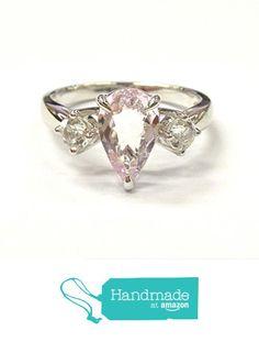Pear Morganite Engagement Ring Round White Topaz 14K White Gold, 7x11mm, 4mm from the Lord of Gem Rings https://www.amazon.com/dp/B01GY3ZSDU/ref=hnd_sw_r_pi_dp_1dVxxbXPDCEKP #handmadeatamazon