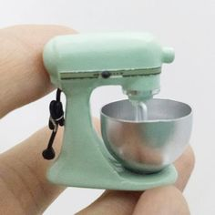 Dollhouse-Miniature-Kitchen-Aid-Stand-Mixer-Mint-Green-Pastel-Gift-2017-New