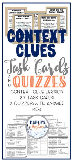 These task cards can help readers understand how to find word meaning. using context clues. These 27 task cards will help your readers understand what they read even better! This packet is perfect for test prep or to be used throughout the year as vocabulary practice.