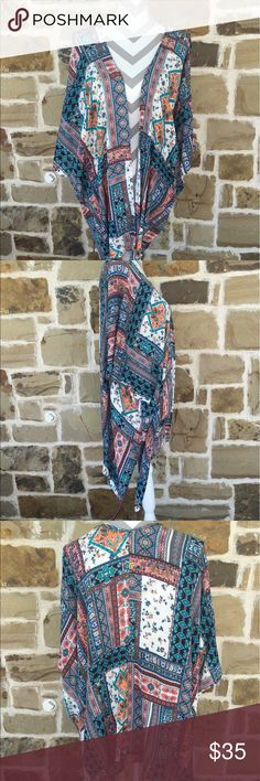 Beautiful multi colored kimono 1 time worn!! Boho chic!!! OSFM.  The possibilities are endless with this piece! Easel Other