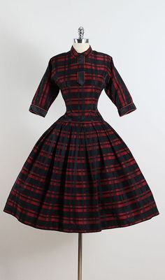 Firelight ➳ vintage 1950s dress * cotton & wool blend * red and black plaid print * ribbon accent * metal back zipper  condition | excellent fits like